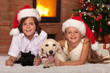 Happy kids and their pets celebrating Christmas