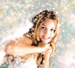 Merry Christmas: Beautiful Angel with stars and snowflakes :)