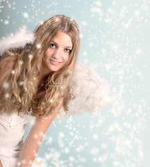 Merry Christmas: Female Angel with stars and snowflakes :)
