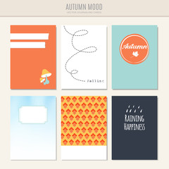 Set of autumn fall greeting, journal cards, vector