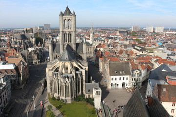 View of Ghent, Saint Nicholas' Church  from Belfry