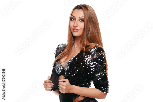 canvas print picture Beautiful sexy woman in black jacket. Fashion girl. isolated