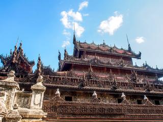Shwenandaw monastery or golden palace in Mandalay, Myanmar