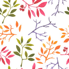 watercolor seamless pattern leaves seasons