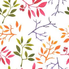 watercolor seamless pattern leaves seasons