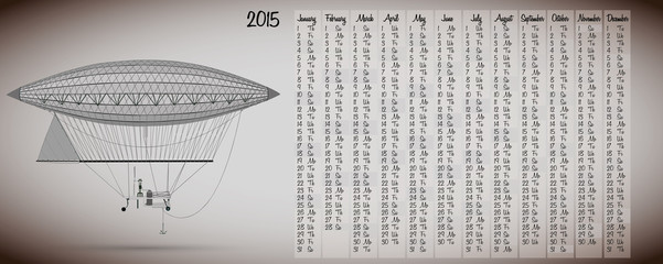 2015 calendar with vintage hot air balloon