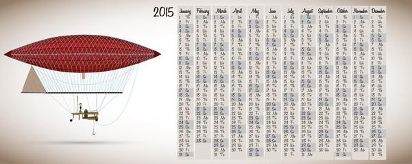 2015 calendar with vintage hot air balloon