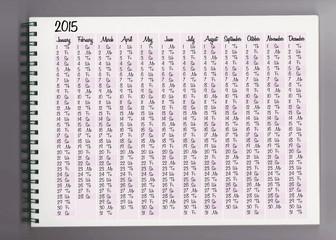 2015 calendar in a notebook