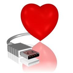 Herz mit USB-Anschluss