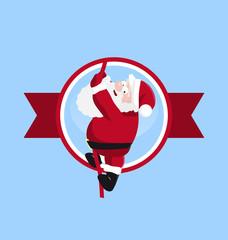 Santa climbing in the round logo