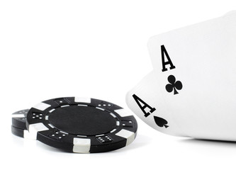 double aces with fiches on white background