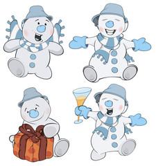 Set of funny Christmas snowman cartoon