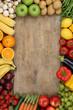 canvas print picture - Gesundes Obst, Früchte und Gemüse mit Textfreiraum
