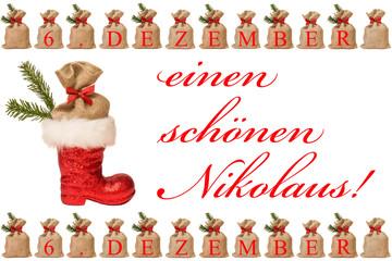 Nikolausstiefel mit kleinen Jutesäckchen