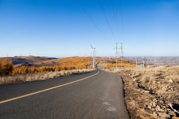 Beautiful autumn of  asphalt road