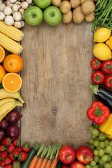 Gesundes Obst, Früchte und Gemüse mit Textfreiraum