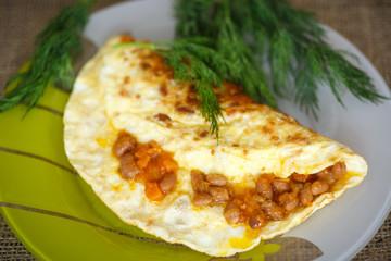 fresh morning egg omelet with beans
