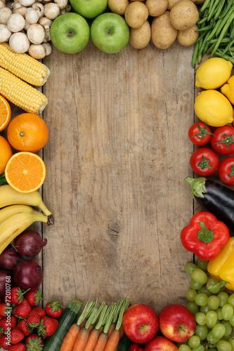 canvas print picture Gesundes Obst, Früchte und Gemüse mit Textfreiraum