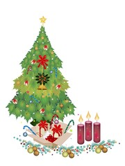 Christmas Tree with Ornament, Gift Boxes and Candle