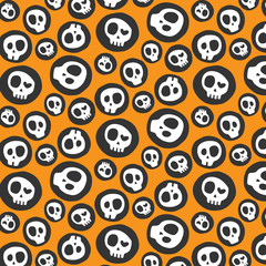 Vector seamless pattern with various skulls.Background.