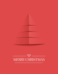 Minimal merry christmas vector in red