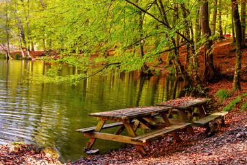 Göl kenarında piknik masası