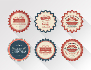 Stylish merry christmas badges vector