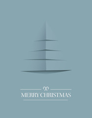Minimal merry christmas vector in blue