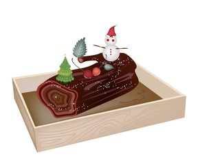 Delicious Yule Log Cake in Wooden Container