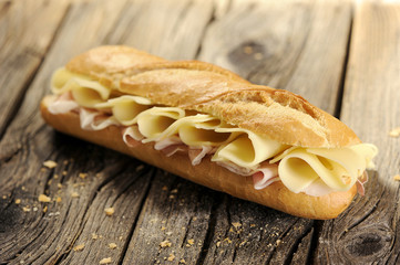 Baguette bread with ham and cheese