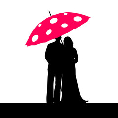 couple silhouette with umbrella vector