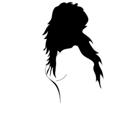 girl with black hear illustration