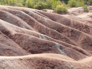 Red desert soil at the Cheltenham Badlands near Toronto