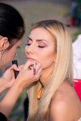 Sexy blonde woman during a make-up session