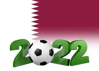Football 2022 design with Qatar Flag