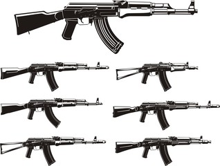 Kalashnikov assault rifle different generation silhouettes set