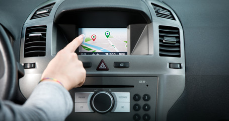 Navigation touch screen panel on car dashboard