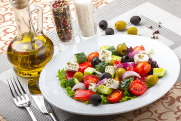 Fresh greek salad.  Delicious eating