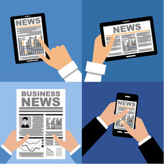 Business news on the tablet and in the newspaper