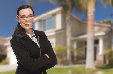 Mixed Race Woman in Front of Residential House