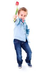 Little boy in jeans, offering red tulip