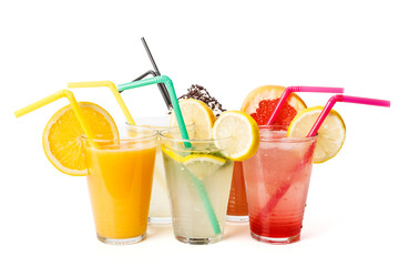 Fresh juices in glasses