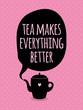 Greeting card. Lettering. I love tea. - 72014562