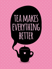 Greeting card. Lettering. I love tea.