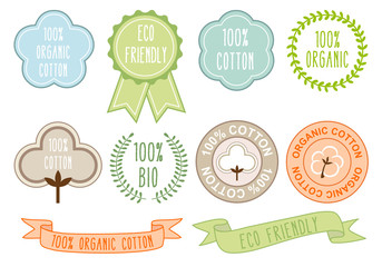 organic cotton signs, vector set