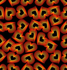 Seamless background with outline heart pattern