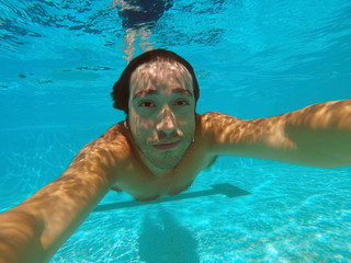 portrait selfie underwater pool