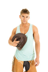 cowboy green tank hold hat by chest
