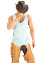 cowboy green tank hold hat down