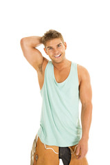 cowboy green tanktop stand smile hand on head
